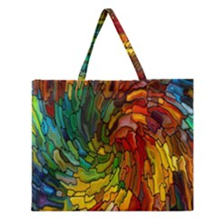 Stained Glass Patterns Colorful Zipper Large Tote Bag