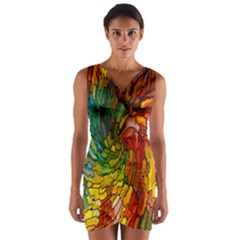 Stained Glass Patterns Colorful Wrap Front Bodycon Dress
