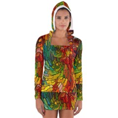 Stained Glass Patterns Colorful Women s Long Sleeve Hooded T Shirt