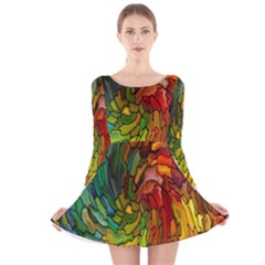 Stained Glass Patterns Colorful Long Sleeve Velvet Skater Dress