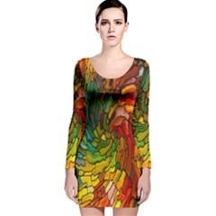Stained Glass Patterns Colorful Long Sleeve Velvet Bodycon Dress