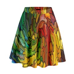 Stained Glass Patterns Colorful High Waist Skirt