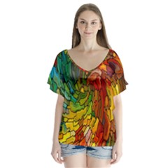 Stained Glass Patterns Colorful Flutter Sleeve Top