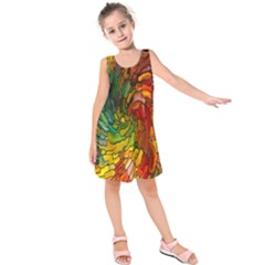 Stained Glass Patterns Colorful Kids  Sleeveless Dress