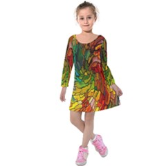 Stained Glass Patterns Colorful Kids  Long Sleeve Velvet Dress