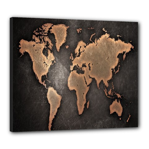 Grunge Map Of Earth Canvas 24  X 20