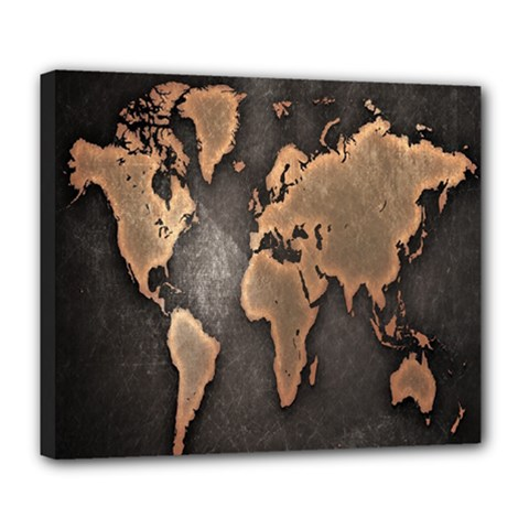 Grunge Map Of Earth Deluxe Canvas 24  X 20   by Amaryn4rt