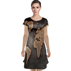Grunge Map Of Earth Cap Sleeve Nightdress