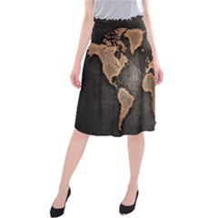 Grunge Map Of Earth Midi Beach Skirt