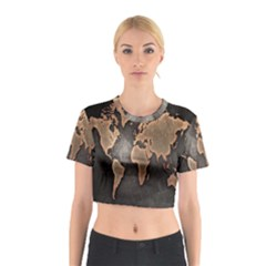 Grunge Map Of Earth Cotton Crop Top