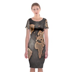 Grunge Map Of Earth Classic Short Sleeve Midi Dress by Amaryn4rt