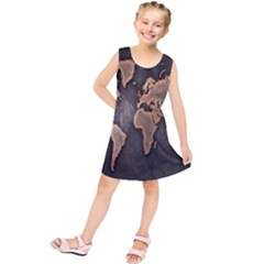 Grunge Map Of Earth Kids  Tunic Dress