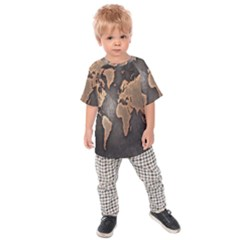 Grunge Map Of Earth Kids  Raglan Tee