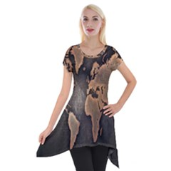 Grunge Map Of Earth Short Sleeve Side Drop Tunic