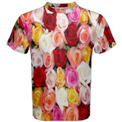 Rose Color Beautiful Flowers Men s Cotton Tee