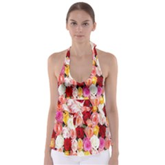 Rose Color Beautiful Flowers Babydoll Tankini Top