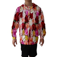 Rose Color Beautiful Flowers Hooded Wind Breaker (kids)