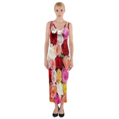 Rose Color Beautiful Flowers Fitted Maxi Dress
