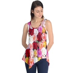Rose Color Beautiful Flowers Sleeveless Tunic