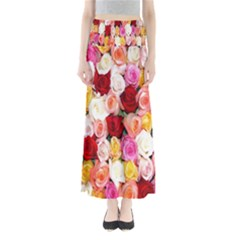 Rose Color Beautiful Flowers Maxi Skirts