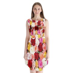 Rose Color Beautiful Flowers Sleeveless Chiffon Dress