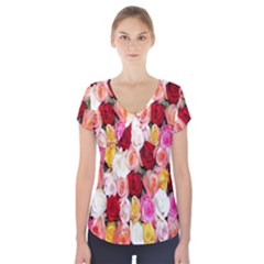 Rose Color Beautiful Flowers Short Sleeve Front Detail Top