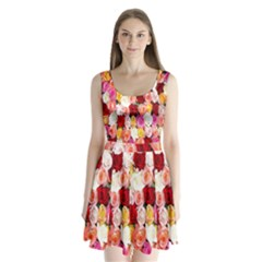 Rose Color Beautiful Flowers Split Back Mini Dress
