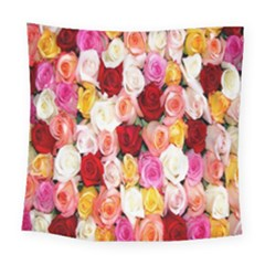 Rose Color Beautiful Flowers Square Tapestry (large)