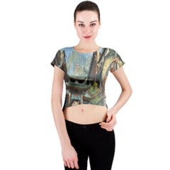 Japanese Art Painting Fantasy Crew Neck Crop Top