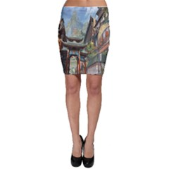 Japanese Art Painting Fantasy Bodycon Skirt