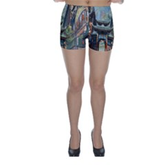 Japanese Art Painting Fantasy Skinny Shorts