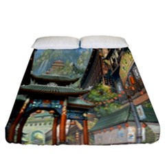Japanese Art Painting Fantasy Fitted Sheet (california King Size) by Amaryn4rt