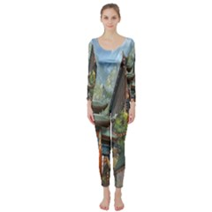 Japanese Art Painting Fantasy Long Sleeve Catsuit