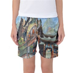 Japanese Art Painting Fantasy Women s Basketball Shorts
