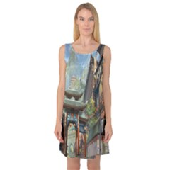 Japanese Art Painting Fantasy Sleeveless Satin Nightdress