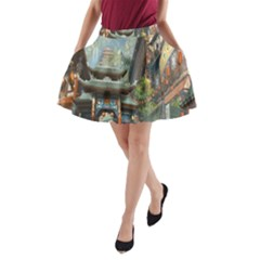 Japanese Art Painting Fantasy A Line Pocket Skirt
