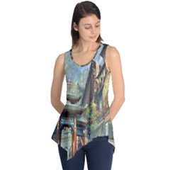 Japanese Art Painting Fantasy Sleeveless Tunic