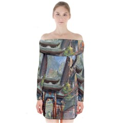Japanese Art Painting Fantasy Long Sleeve Off Shoulder Dress