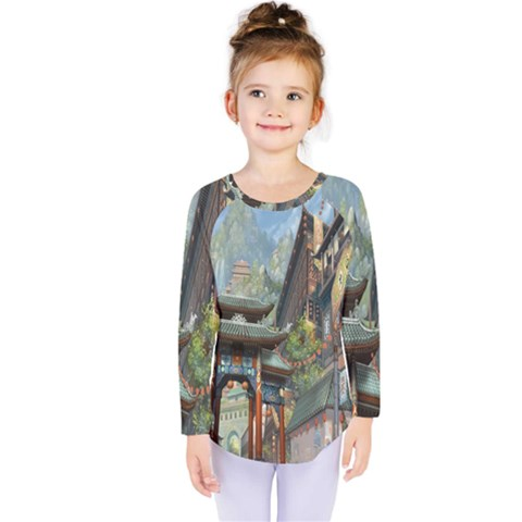 Japanese Art Painting Fantasy Kids  Long Sleeve Tee by Amaryn4rt
