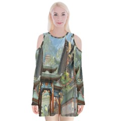 Japanese Art Painting Fantasy Velvet Long Sleeve Shoulder Cutout Dress