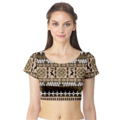 African Vector Patterns Short Sleeve Crop Top (tight Fit)