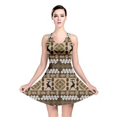 African Vector Patterns Reversible Skater Dress
