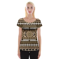 African Vector Patterns Women s Cap Sleeve Top
