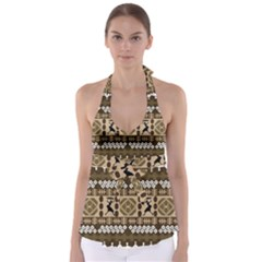 African Vector Patterns Babydoll Tankini Top