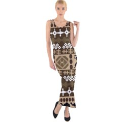 African Vector Patterns Fitted Maxi Dress