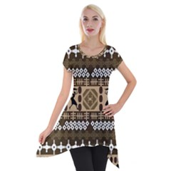 African Vector Patterns Short Sleeve Side Drop Tunic