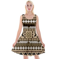 African Vector Patterns Reversible Velvet Sleeveless Dress