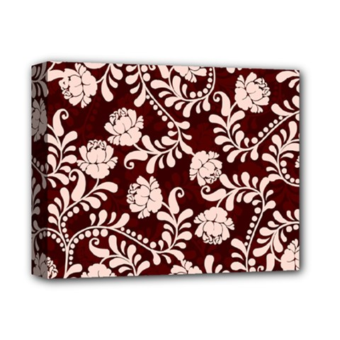 Flower Leaf Pink Brown Floral Deluxe Canvas 14  X 11  by Alisyart
