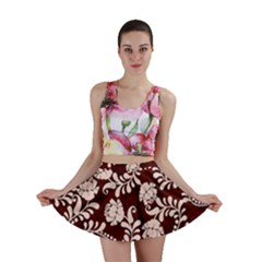 Flower Leaf Pink Brown Floral Mini Skirt