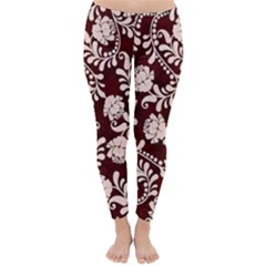 Flower Leaf Pink Brown Floral Classic Winter Leggings